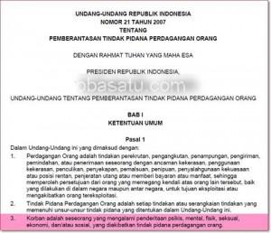 Potongan ayat dalam Undang-Undang Tentang Pemberantasan Tindak Pidana Perdagangan Orang yang dikecam netizen. (tobasatu.com).