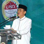 Bupati Asahan Taufan Gama Simatupang ketika memberikan sambutan dalam acara berbuka puasa bersama dengan Sivitas Akademika UNA, di Kisaran Selasa (14/6/2017).